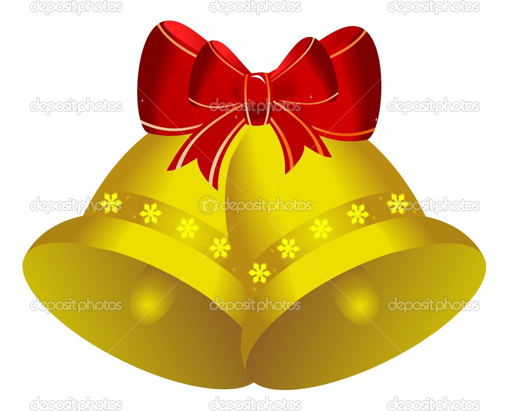 Two golden christmas bells with red bow - vector  Stock Vector #1708737