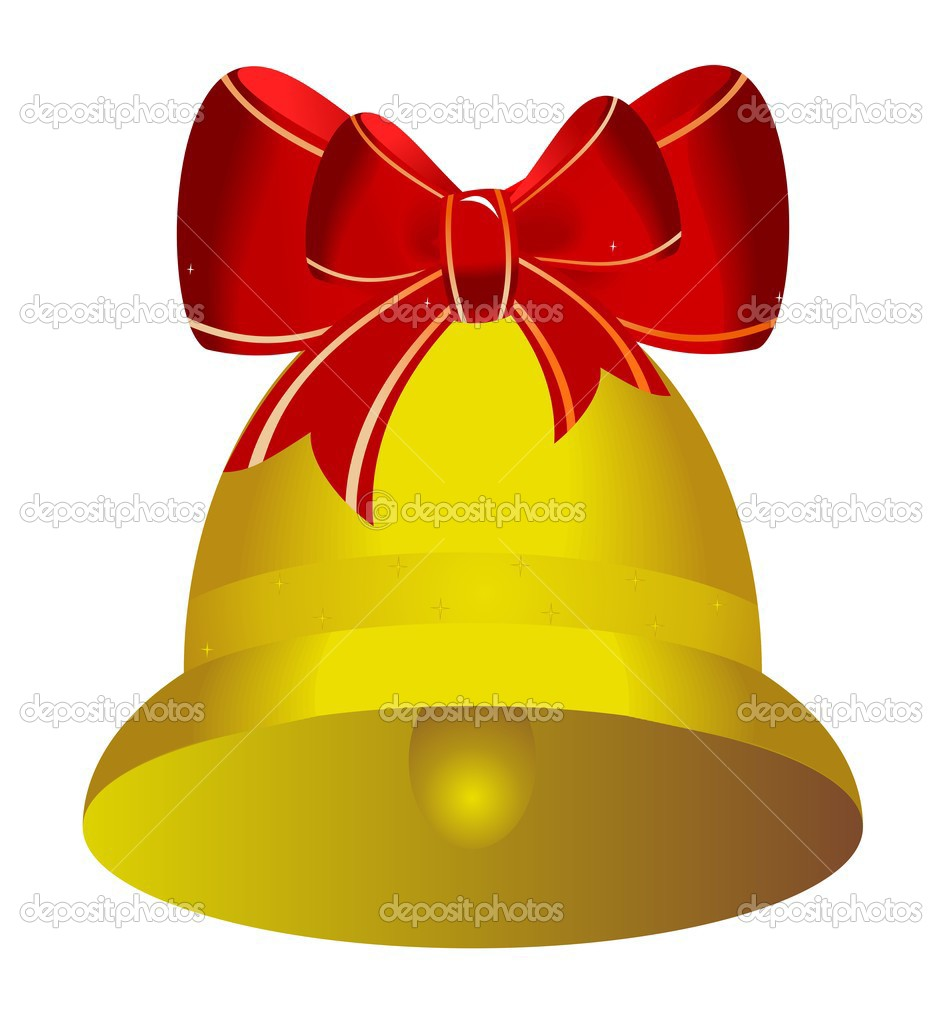 Golden christmas bell with red bow - vector — Stock Vector #1708893