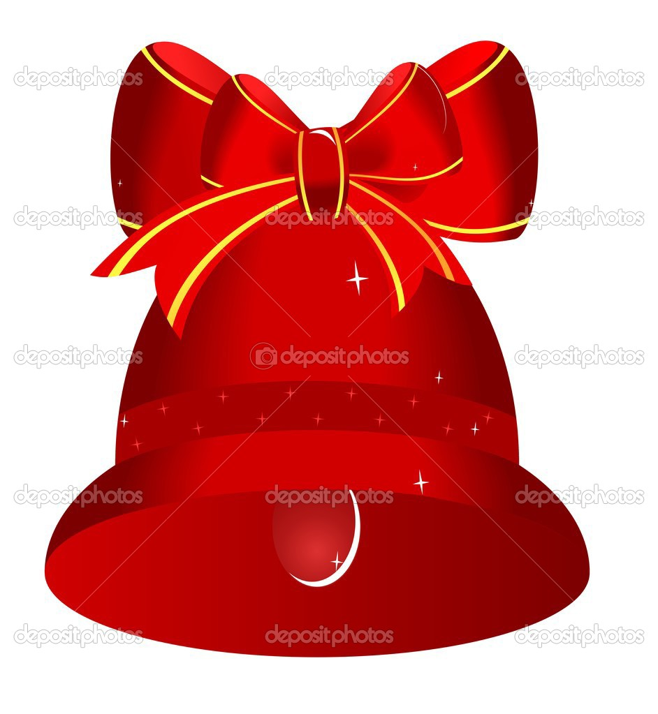 Red bell with  bow - vector  Stock Vector #1708968
