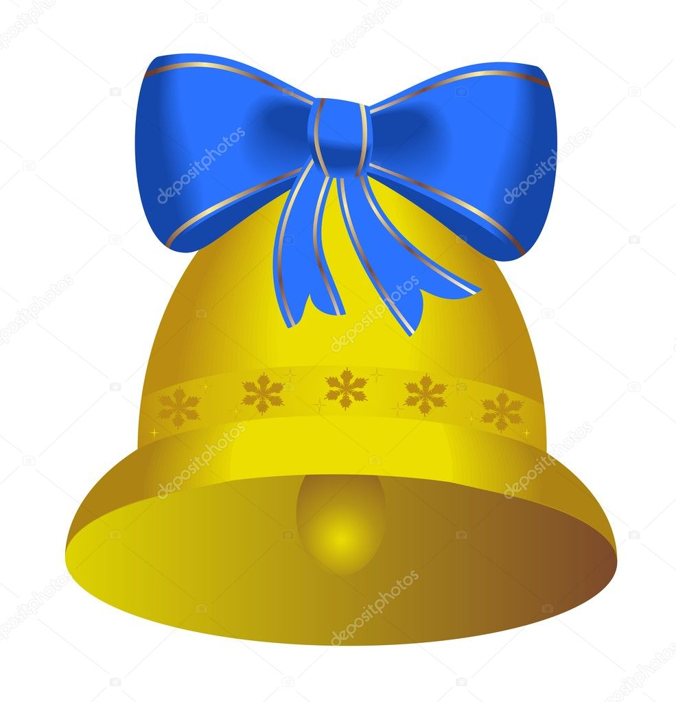 Golden bell with blue bow - vector  Stock Vector #1708972