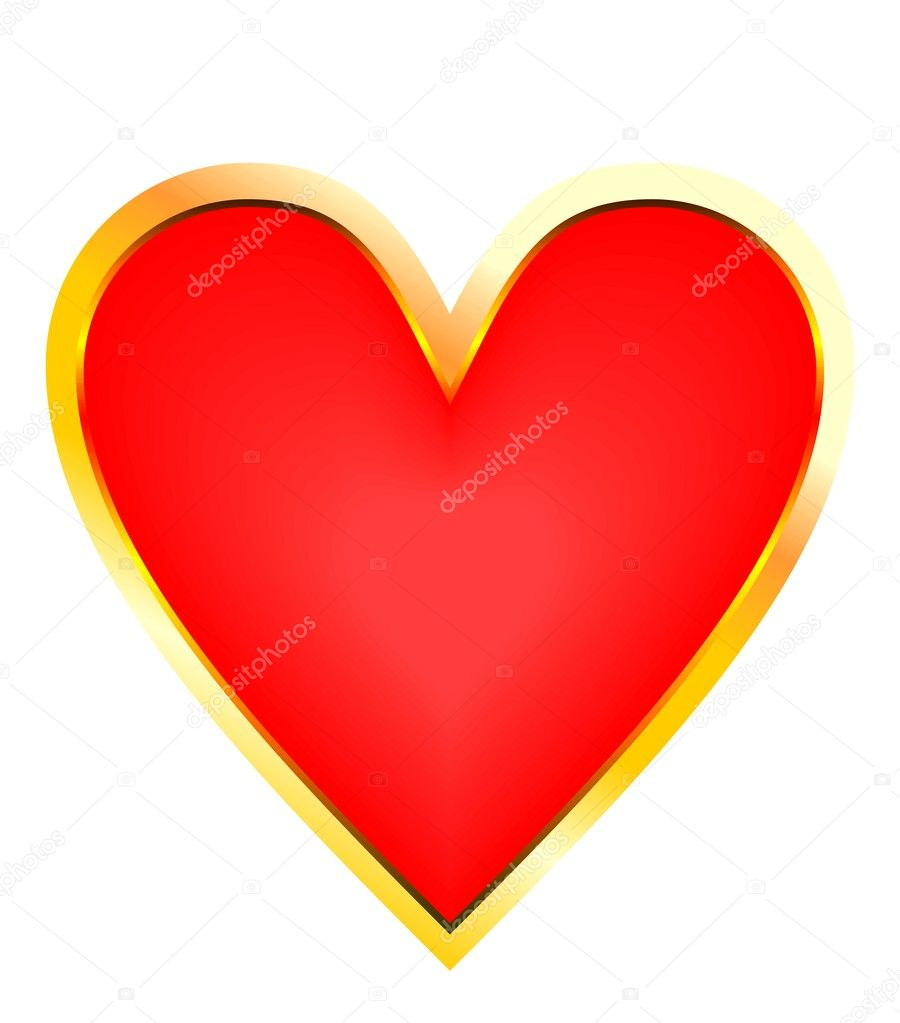 Goldeh red heart - vector — Stock Vector #1709629