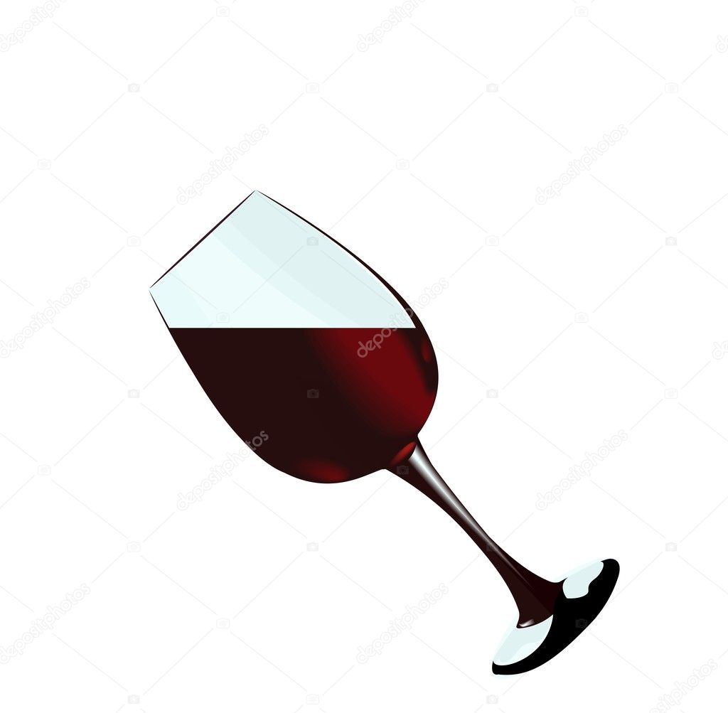A glass of red wine of isolated on a white background. Vector — Vettoriali Stock  #1801260