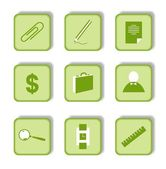 Green sticker with icon 9 — Stock Vector