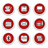 Red buttons with icon 9 — Stock Vector