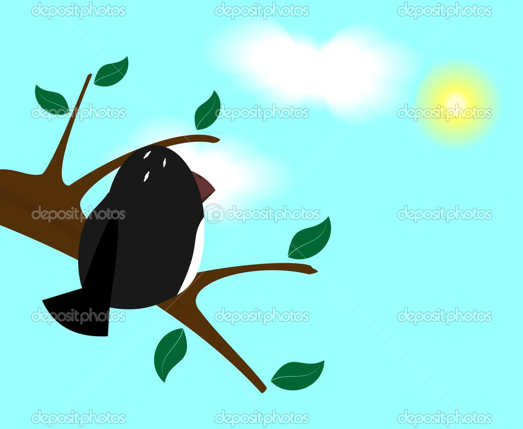 Bird on branch - vector — Stock Vector #2497225