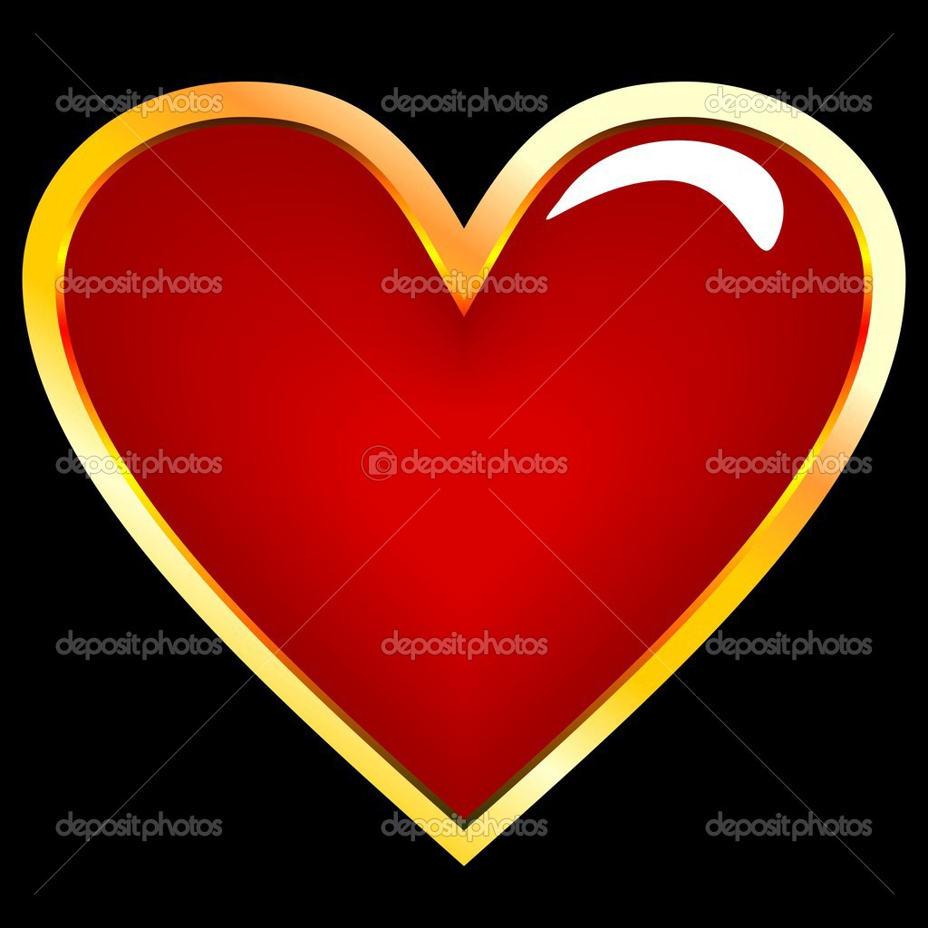 Realistic illustration of golden heart - vector — Stock Vector #2497642
