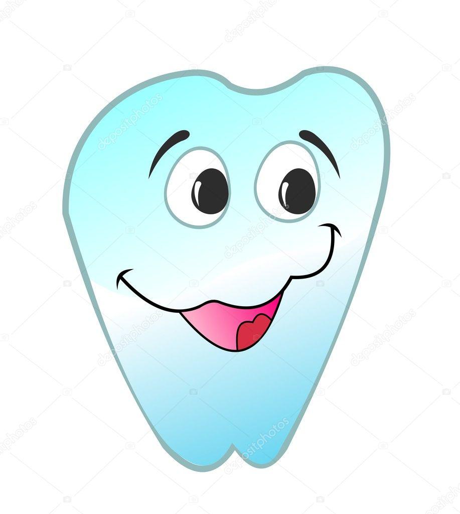 快乐的微笑牙齿矢量图是一个孤立的白色背景