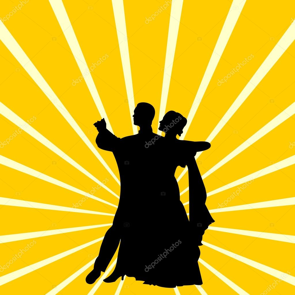 Vector illustration of silhouette a couple dancing waltz — Stock Vector #2690962