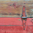 Stock Photo: Old red barn door.