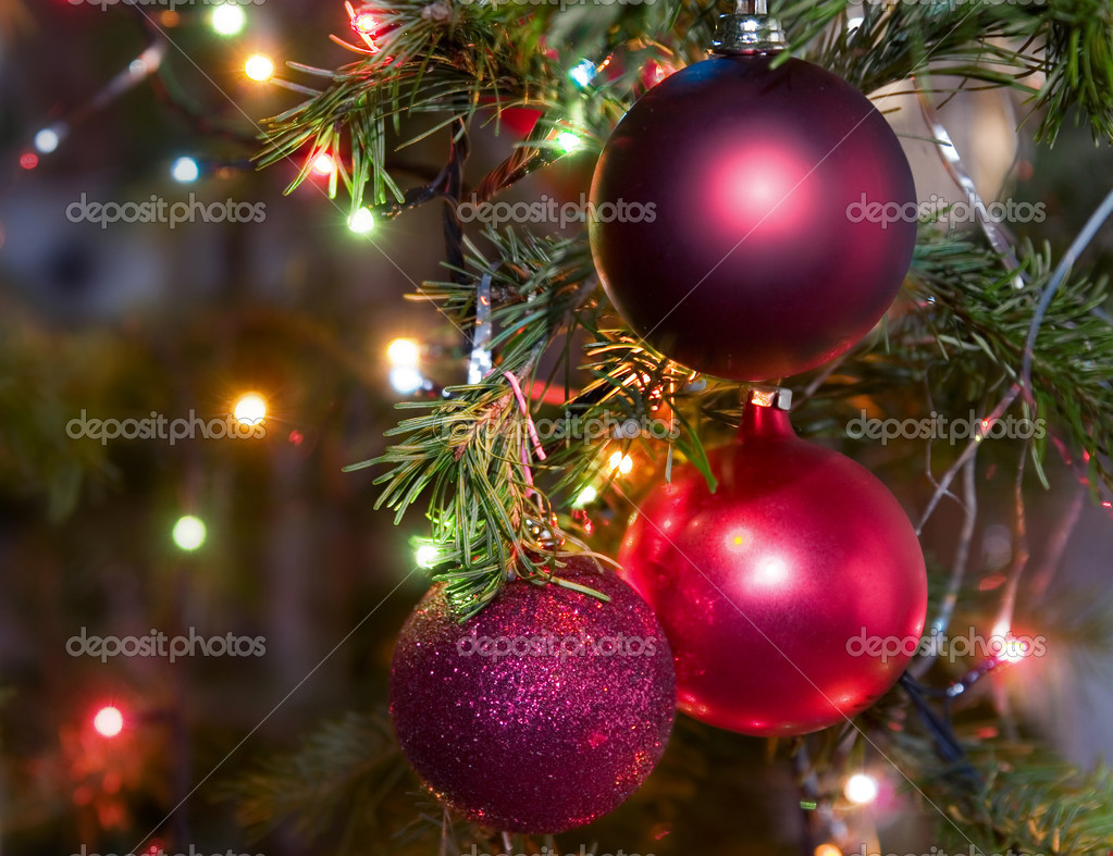 Christmas-tree decorations on a christmas fur-tree — Stock Photo #1720283