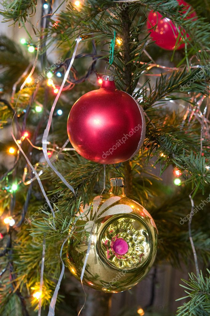Christmas-tree decorations on a christmas fur-tree — Stock Photo #1720316