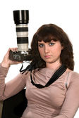The girl with the camera — Stockfoto
