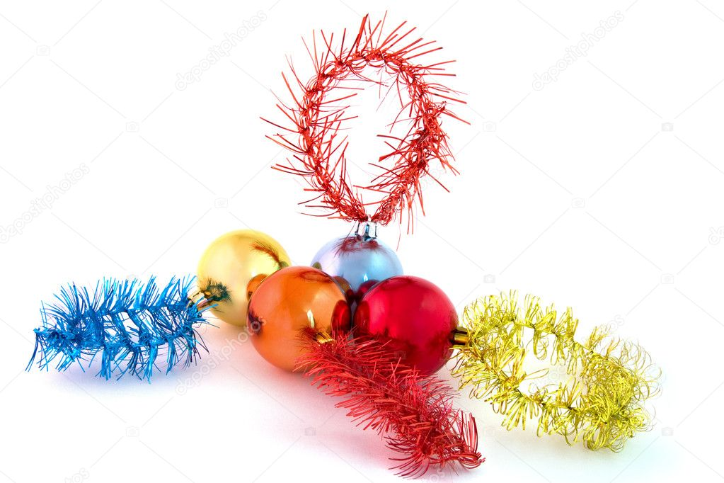 Christmas-tree decorations on a christmas fur-tree — Stock Photo #2129397
