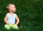 Boy sits on a grass — Stock Photo