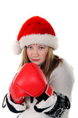 Young women with boxing gloves — Stock Photo