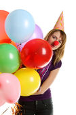 Girl with colored baloons — Stock Photo