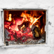 Stock Photo: Fire in old stove