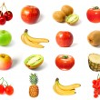 Set of fruits and vegetables isolated - Stock Photo