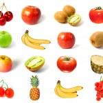 水果和蔬菜被隔绝的一套 — 图库照片