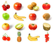 Set of fruits and vegetables isolated — Stock Photo