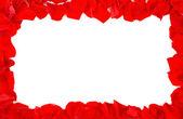 Röda rosenblad ram — Stockfoto