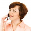 Young woman talking by mobile phone isol — Stock Photo #1611571