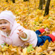 Small baby in autumn forest — Stok fotoğraf
