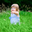 Stock Photo: Small girl at summer forest