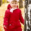 Girl on autumn forest - Stock Photo