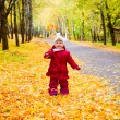 Little girl with yellow maple leaves — Stock Photo