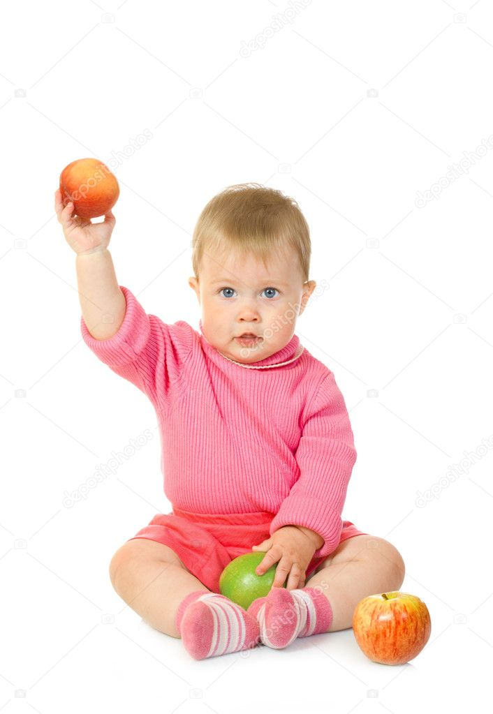 Small baby with apples isolated — Stock Photo #1612309