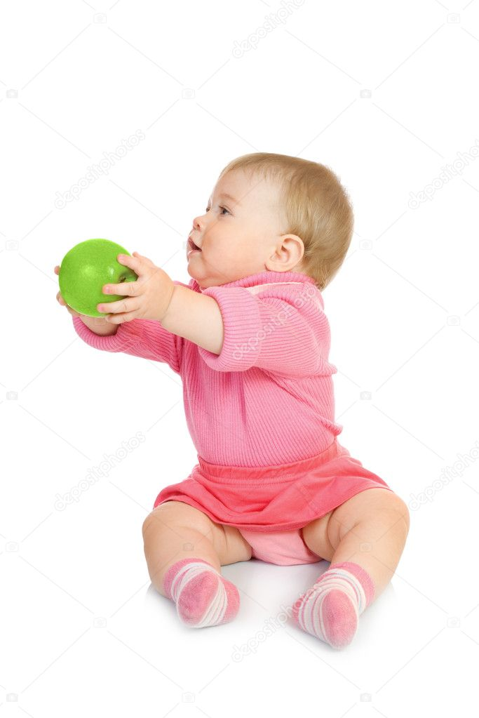 Small baby with green apple  Stock Photo #1612315