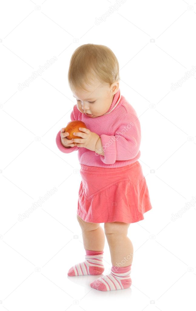 Small baby with apple #3 isolated  Stock Photo #1612322