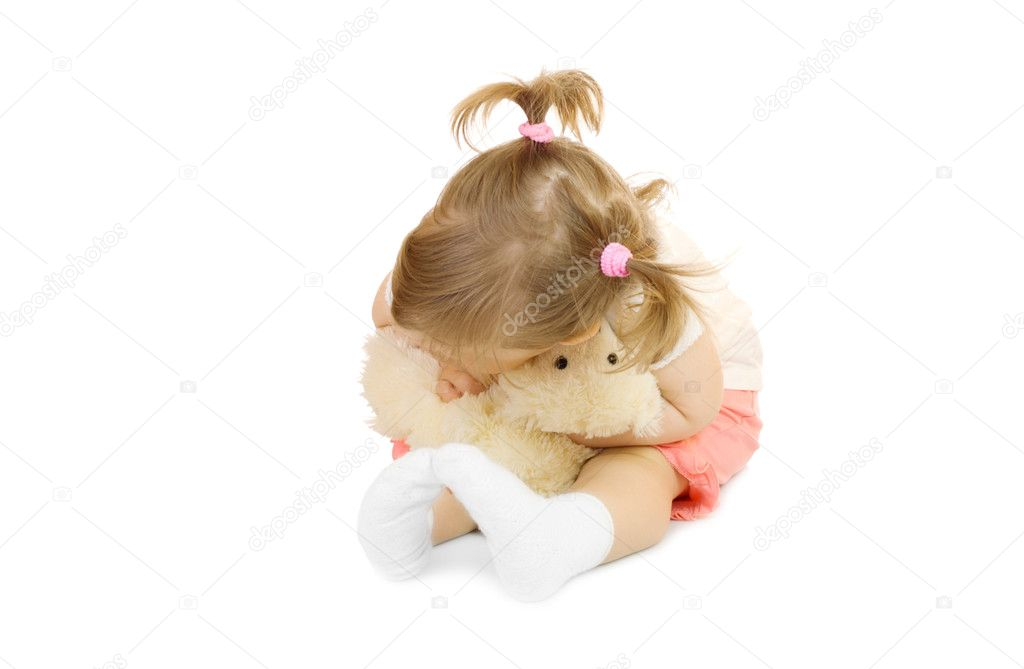 Small girl with toy bear isolated on white — Stock Photo #1613894