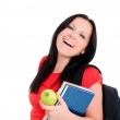 Smiling brunette student woman with back — Stock Photo #1598701