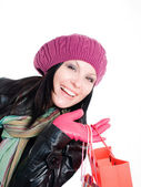 Smiling brunette woman in fall clothes h — Stock Photo