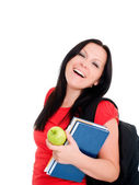 Smiling brunette student woman with back — Stock Photo