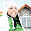 Woman in winter clothes showing ok sign — Stock Photo