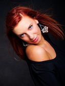 Beautiful glamour woman with red hair — Stock Photo
