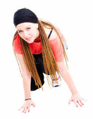 Young teenager girl ready to run over wh — Stock Photo