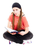 Teenager student reading book over white — Stock Photo