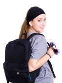 Teenager student holding backpack and su — Stock Photo