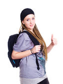 Teenager student holding backpack and sh — Stock Photo