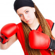 Stock Photo: Young womfighter with boxing gloves o
