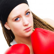 Young woman fighter with boxing gloves o — Stock Photo