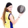 Young woman playing game with basketball — Stock Photo #1827981
