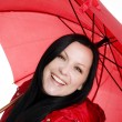 Stock Photo: Smiling brunette woman with umbrella