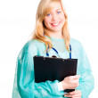 Smiling female doctor with stethoscope h — Stock Photo