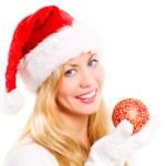 Christmas woman holding glass ball — Stock Photo #1855109