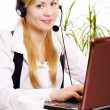 Woman with headphone in office — Foto de Stock